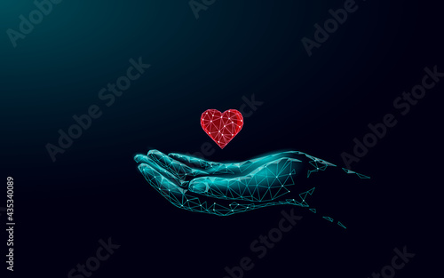 Fototapeta Fundraising giving heart symbol money hand