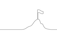 Flag On Mountuntain One Line Art. Goal Achievment Competition Prize Continuous Line Silhouette. Success Team Work Leadership Business Mak Map. Finish Work Project Metaphor Vector Illustration