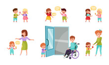 Little Boy And Girl Sharing Treats, Greeting And Apologizing Vector Illustration Set