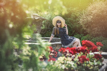 Woman Wear Blue Dress In Summer Garden, Lifestyle