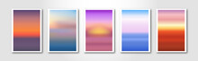 Modern Blurred Gradient Backgrounds With Sunset And Sunrise. Delicate Colored Paper Cards