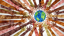 World Culture Earth Day And Global Diversity And International Cultures As A Concept Of Diverse Races And Crowd Cooperation Symbol As Hands Holding Together The Planet Earth
