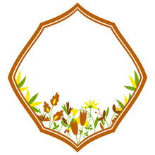 Floral Rhombus Frame Retro Isolated Decoration With Flowers And Leaves