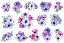 Bouquet Of Flowers. Watercolor Anemones. Floral Isolated Elements For Wedding, Invitations, Postcards. Watercolor