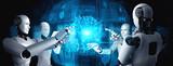 Fototapeta Kawa jest smaczna - AI humanoid robot touching virtual hologram screen showing concept of big data analytic using artificial intelligence thinking by machine learning process. 3D illustration.