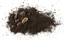 Dirt Pile With Rocks Isolated On White Background, Top View