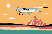 Light Single-engine Aircraft Flies Against The Background Of An Abstract Landscape. Vector Illustration.