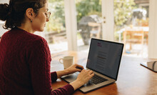 Female Blogger Working From Home