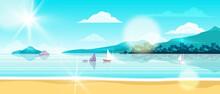 Summer Beach Landscape, Vector Ocean Island Background, Shore Sand, Sailing Boat, Island, Palm Silhouette. Exotic Seashore, Tropical Nature Vacation Illustration. Horizontal Beach Lagoon Landscape