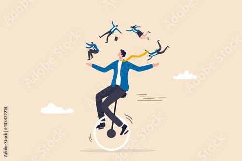 Fotografija People management or HR, human resources, diversity or inclusive, career and recruitment concept, smart skillful businessman manager riding unicycle balance juggling team members diversify people