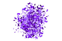 Purple Explosion Of Confetti. Magenta Abstract Texture Isolated On White Background. Mauve Flat Design Element. Vector Illustration,eps 10.