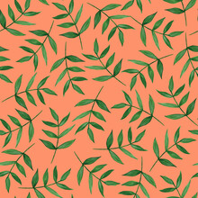 Green Twigs With Leaves On An Orange Background. Seamless Pattern. Hand Drawn Watercolor Illustration. For Printing On Tanya, Packaging Design.