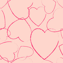 Cute Pattern With The Outlines Of Pink Hearts For The Fobris Production Of Gift Bags, Wrapping Paper, Fabrics, Etc.