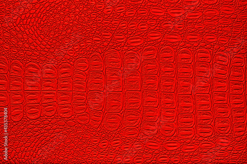 Foto Red crocodile leather texture. Abstract backdrop for design.