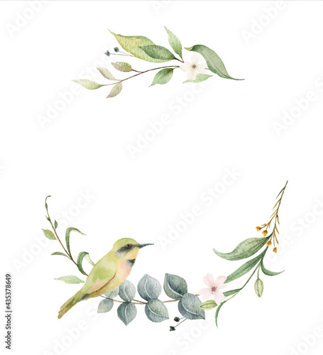 Canvastavla Watercolor vector wreath with green branches and bird.