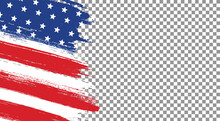 American Flag With Brush Paint Textured Isolated  On Png Or Transparent  Background,Symbols Of USA , Template For Banner,card,advertising ,promote, TV Commercial, Ads, Web Design, Magazine,vector