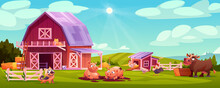 Colorful Farmyard With Domestic Animals And Poultry Outside Wooden Barn Green Rural Scenery Vector Illustration. Farm Landscape, Chicken Coop, Hens And Rooster, Cow Eating Hay, Cute Pigs, Dog Pet