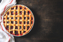Tasty Homemade American Cherry Pie. Delicious Homemade Cherry Pie With A Flaky Crust