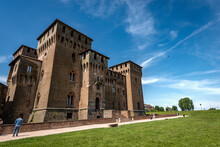 The Medieval Castle Of Saint George (Castello Di San Giorgio, 1395-1406) In Mantua Downtown (Mantova), Part Of The Palazzo Ducale Or Gonzaga Royal Palace. Lombardy, Italy, Southern Europe.