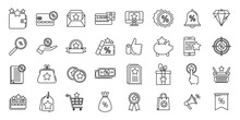 Bonus Star Icons Set, Outline Style