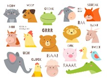 Animals Talking. Farm And Wild Fauna Characters Talks Sound, Cartoon Cute Childish Creatures Communication, Birds And Mammals, Speech Bubbles With Text. Babies Educational Cards Vector Set