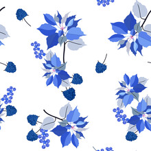 Seamless Vector Illustration With Poinsettia Flowers And Blackberry On A White Background.