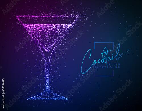 Canvastavla Neon fluid cocktail vector illustration