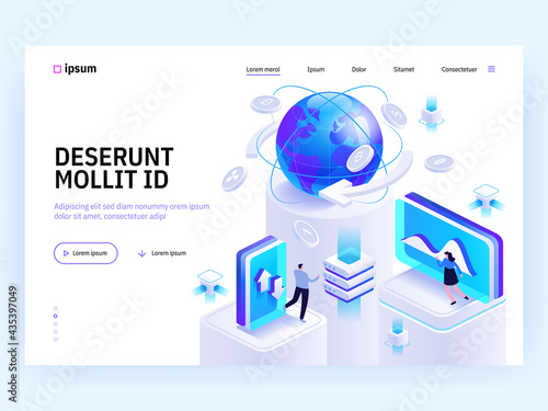 Wallpaper Mural Vector landing page of Tech isometric concept
