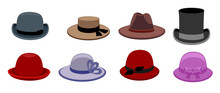 Flat Vector Set Of Male And Female Hats. Stylish Hats For Men And Women. Different Men S And Women S Hats For Different Seasons And Weather. Fashion Theme Vector Illustration In Flat Style.