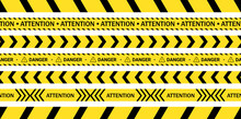 Yellow Tapes With Black Stripes And Arrows That Attract People's Attention And Warn Of Danger, As Well As Prohibit Access To The Construction Site And The Crime Scene That The Police Are Investigating