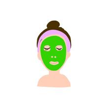 緑のフェイスマスクをした女性のベクターイラスト / Illustration Of A Woman With Green Face Mask
