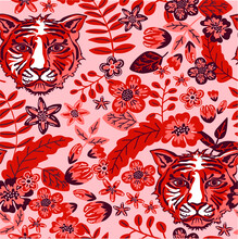 Seamless Vector Pattern With Wild Cat Face, Herbs And Flowers. Tiger Mask And Botanical Elements. Fashionable Print For Textiles