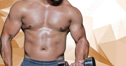 Composition of midsection of strong caucasian man lifting dumbbells on geometric background