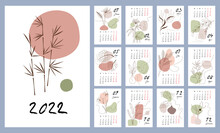 Calendar Template For 2022. Vertical Design With Abstract Floral Patterns. Editable Vector Illustration, Set Of 12 Months With Cover. Week Starts On Monday.