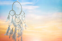 Dream Catcher Background At Sunset With Copy Space