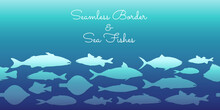 Seamless Border With Silhouettes Of Sea Fishes