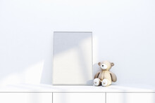 Nursery Frame Mockup, Empty Vertical Frame For Baby Room Or Kids Room Wall Art, Print, Photo.