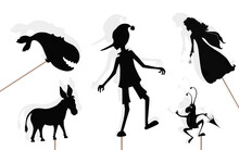 Fairy Tale Shadow Puppets, Isolated.