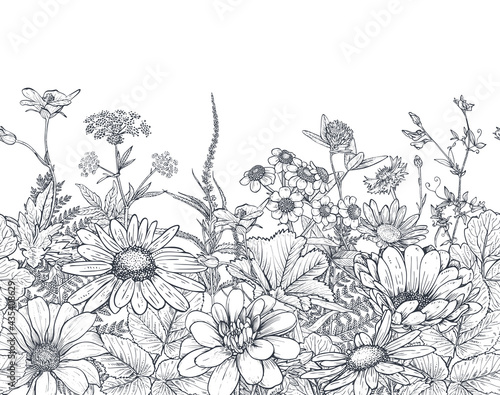 Tela Vector seamless pattern with hand drawn herbs and wildflowers