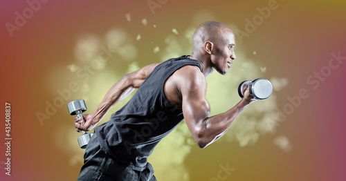 Composition of muscular strong african american man lifting dumbbells