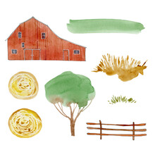 Watercolor Hand Drawn Farm Clipart, Watercolor Country Life Summer Images Clip Art,  Gardening Digital Illustration, Cottagecore Landscape, Farmhouse, Tree, Haystack