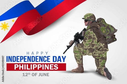 Canvas Print illustration of 12th of june background for Happy independence day Philippines