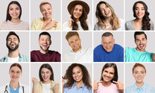 Collage With Photos Of Happy Smiling People On Light Grey Background