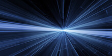 Glowing Blue Speed Line Beam Explosion Rays Tails Light Effect Modern Tech Background.