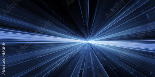 Carta da parati Glowing blue speed line beam explosion rays tails light effect modern tech background