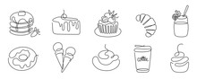 Set Of Сontinuous One Line Art Cafe Elements. Linear Style And Hand Drawn Logo. Cafe And Bakery Concept.