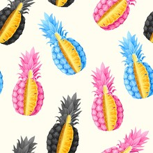 Vector Seamless Pattern With High Detailed Ananas