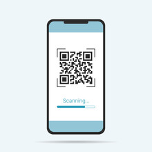 Flat Design Illustration Of Touch Screen Smartphone. QR Code Scanner With Scanning Text, Vector