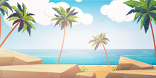 Beach With Palms And Rocks In Cartoon Style. Vector.
