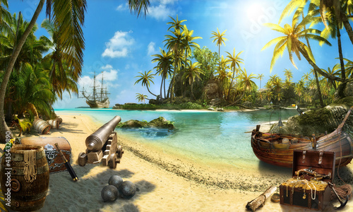 Fotografie, Obraz beach with palm trees